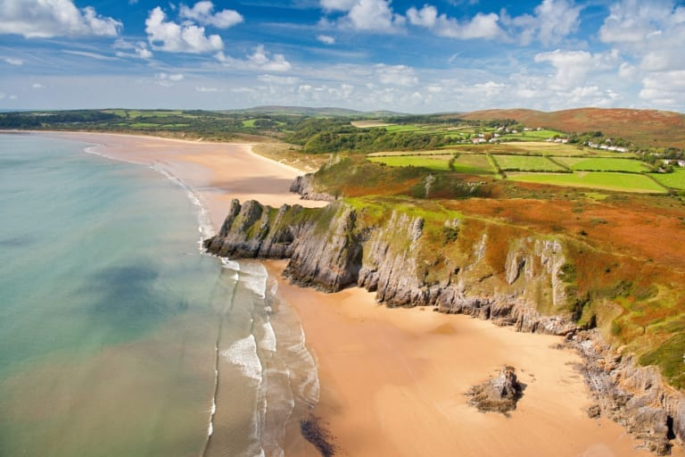 Aerial view of Three Cliffs Bay Gower South Wales