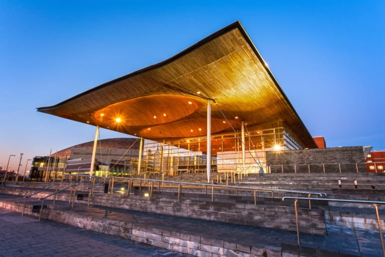Senedd at dusk, Cardiff