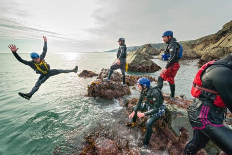 Teambuilding activities and sports Wales. Coasteering and adrenaline activities